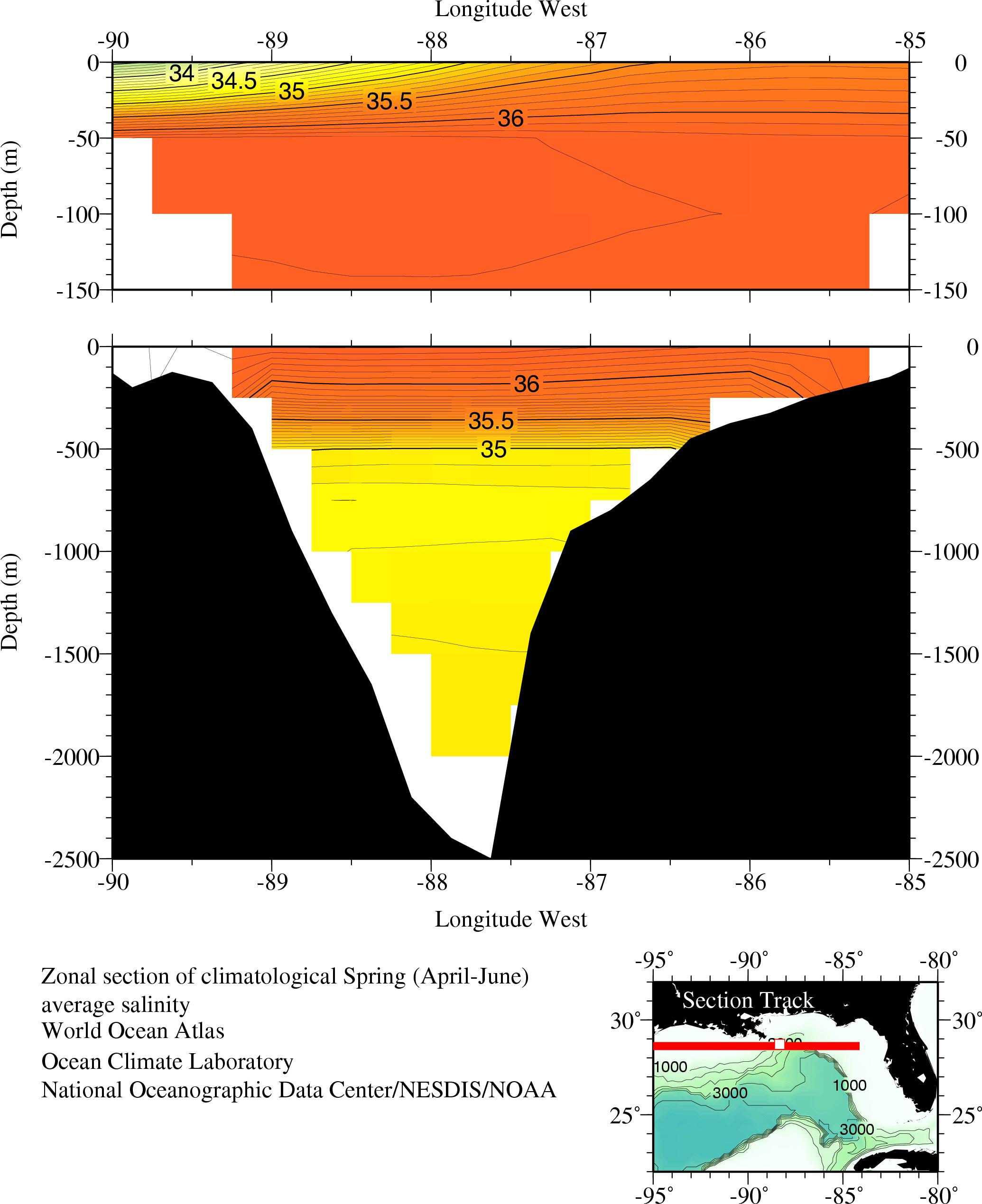 Average salinity, Zonal