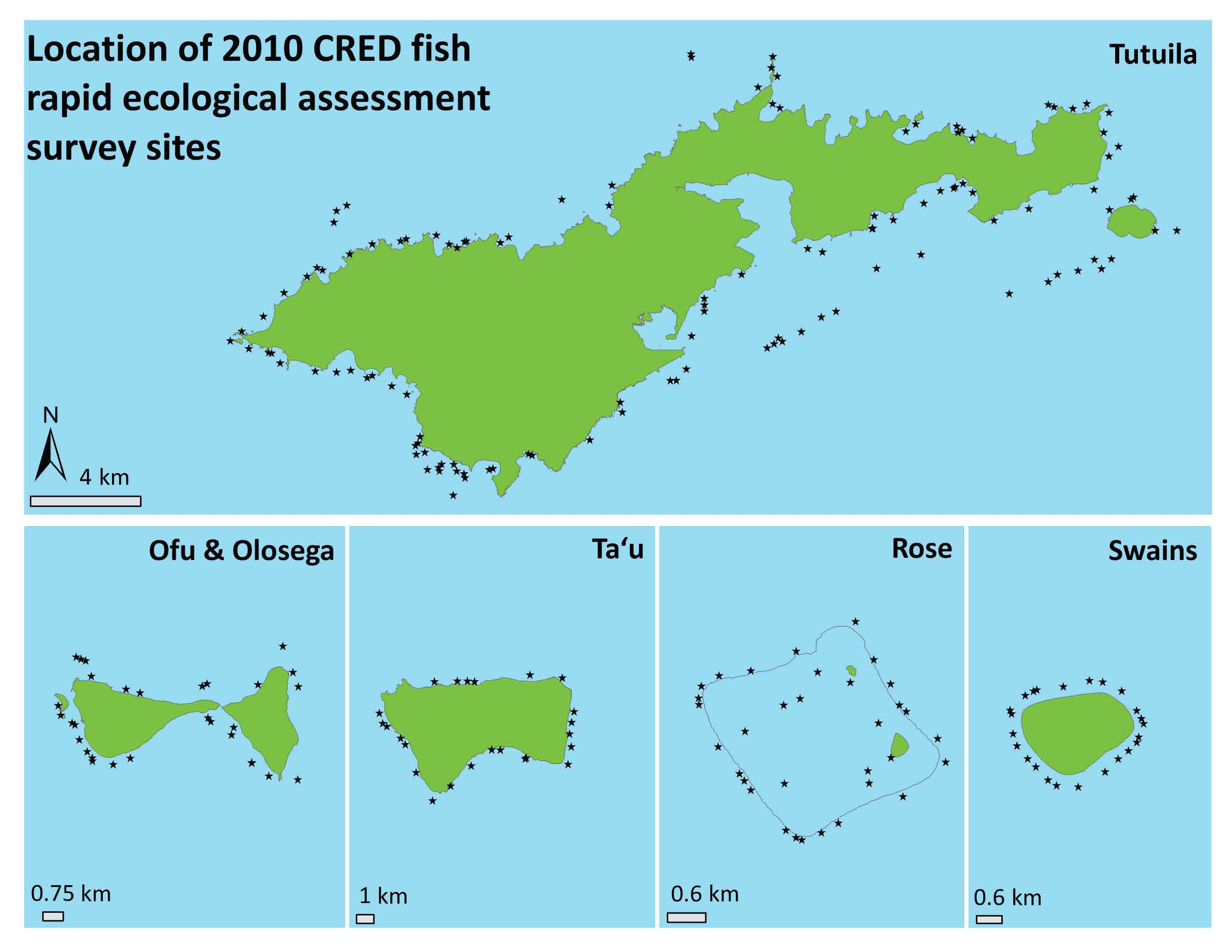 Sample Map Layer - Location of 2010 CRED fish rapid ecological assessment survey sites.