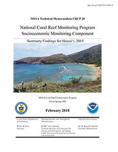 National Coral Reef Monitoring Program Socioeconomic Monitoring Component: Summary Findings for Hawaii, 2015 - Cover