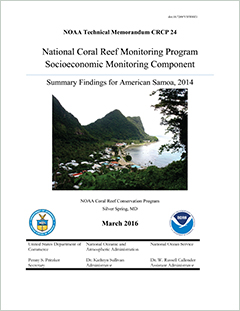 cover - National Coral Reef Monitoring Program Socioeconomic Monitoring Component. Summary Findings for American Samoa, 2014
