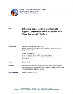 Cover -Enhancing Socioeconomic Monitoring to Support Conservation of Coral Reef and Near Shore Resources in Thailand
