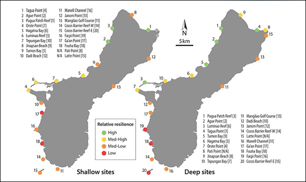 Map of Guam showing spatial variation in relative resilience for both depths.