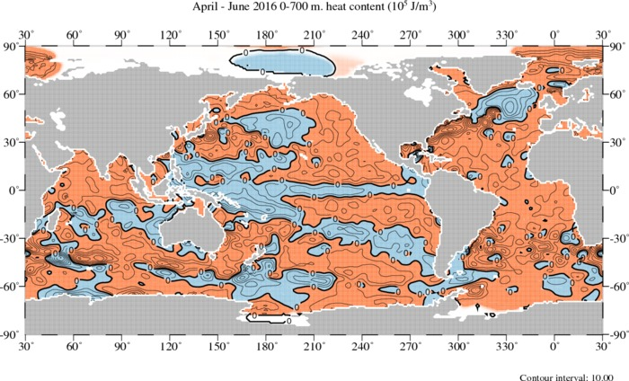 April–June 2016 Heat Content 0-700 m