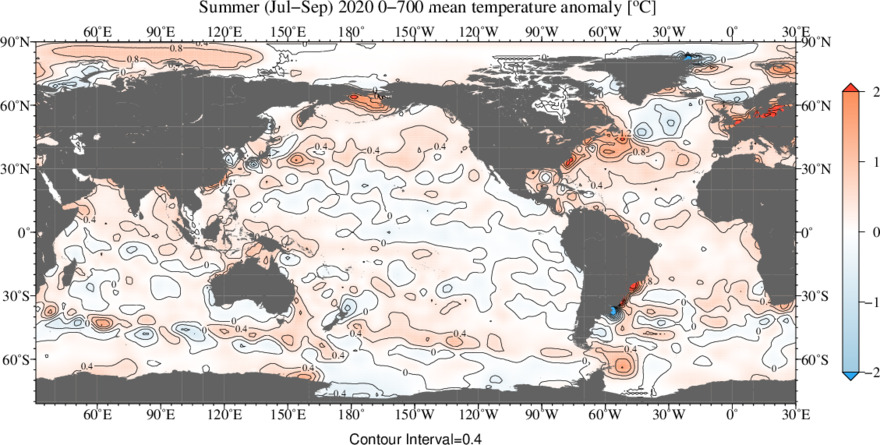 Vertically Averaged Temperature Anomaly for Jul - Sep 2020 and 0 - 700 meters depth layer