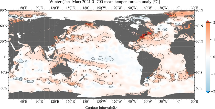 Vertically Averaged Temperature Anomaly for Jan - Mar 2021 and 0 - 700 meters depth layer