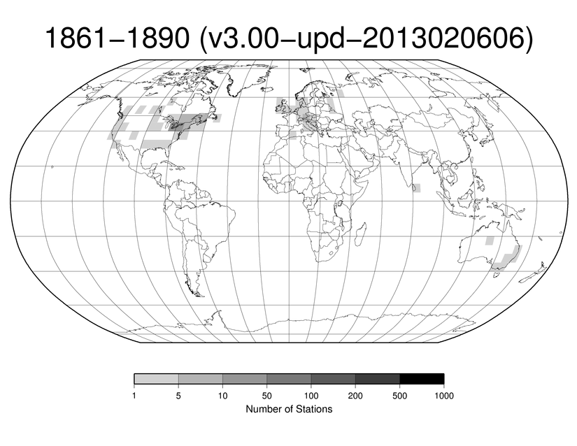 Station Counts 1861-1890: Temperature