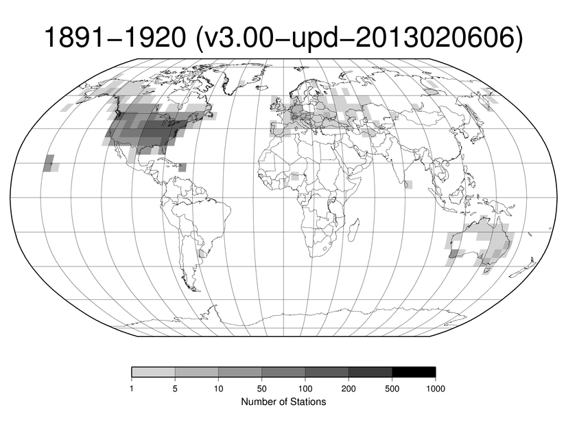Station Counts 1891-1920: Temperature