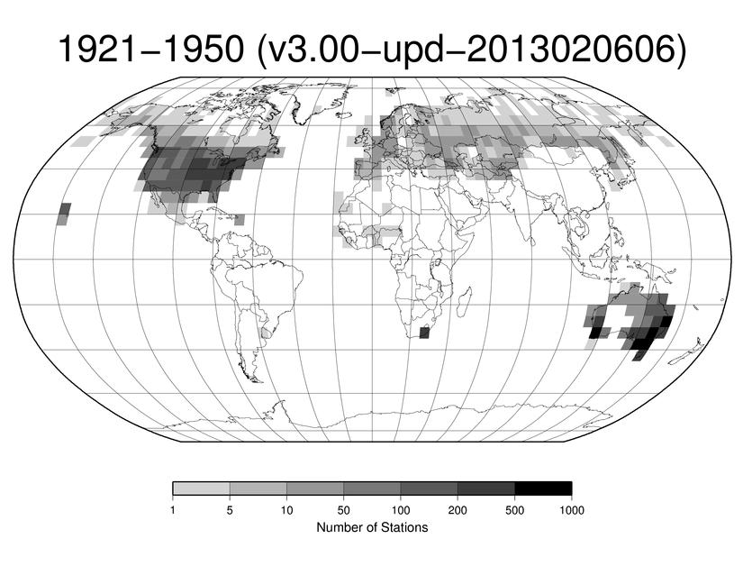 Station Counts 1921-1950: Precipitation
