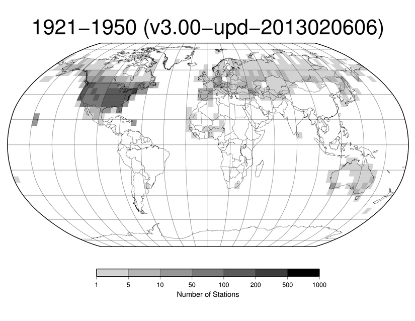 Station Counts 1921-1950: Temperature