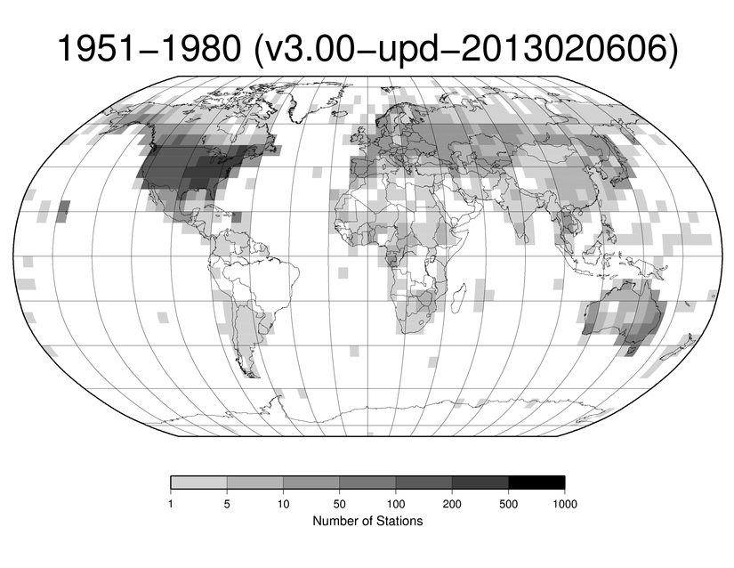 Station Counts 1951-1980: Temperature