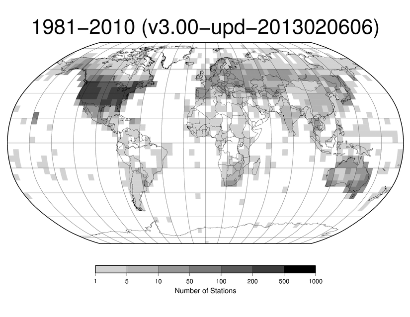 Station Counts 1981-2010: Temperature