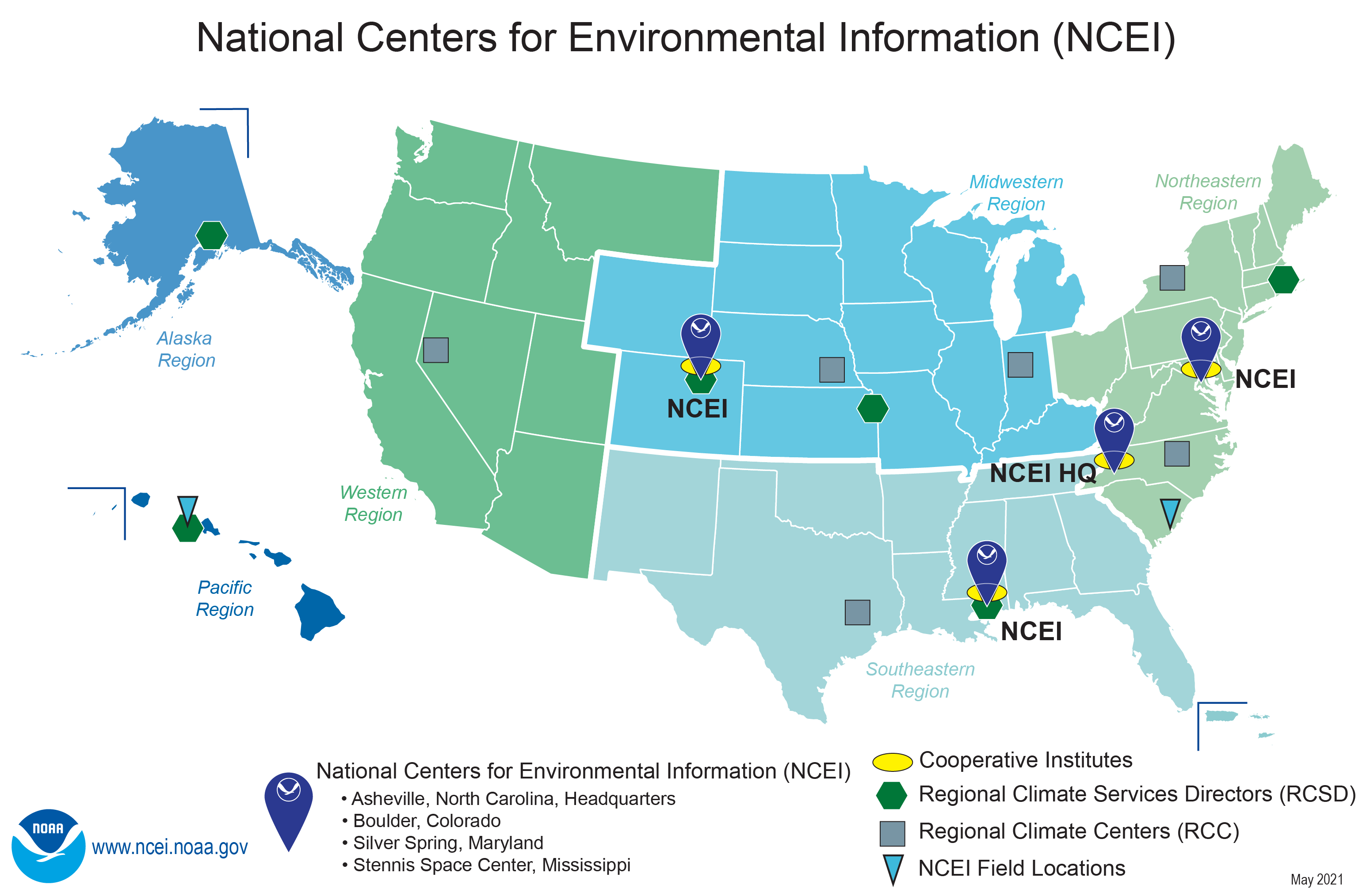 Map of NCEI locations, Cooperative Institutes, Regional Climate Services Directors and Climate Centers