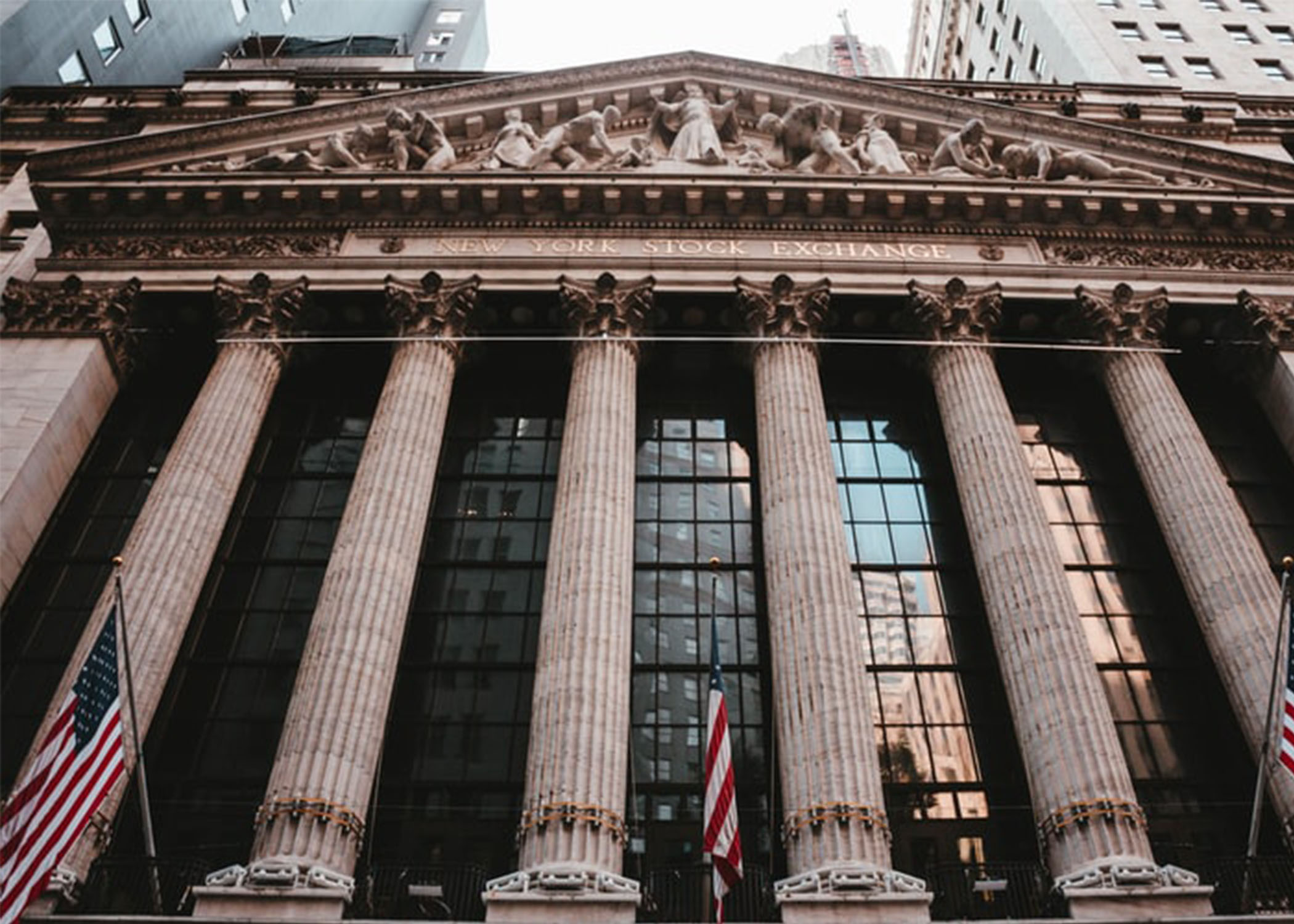 Front columns of the New York Stock Exchange building.