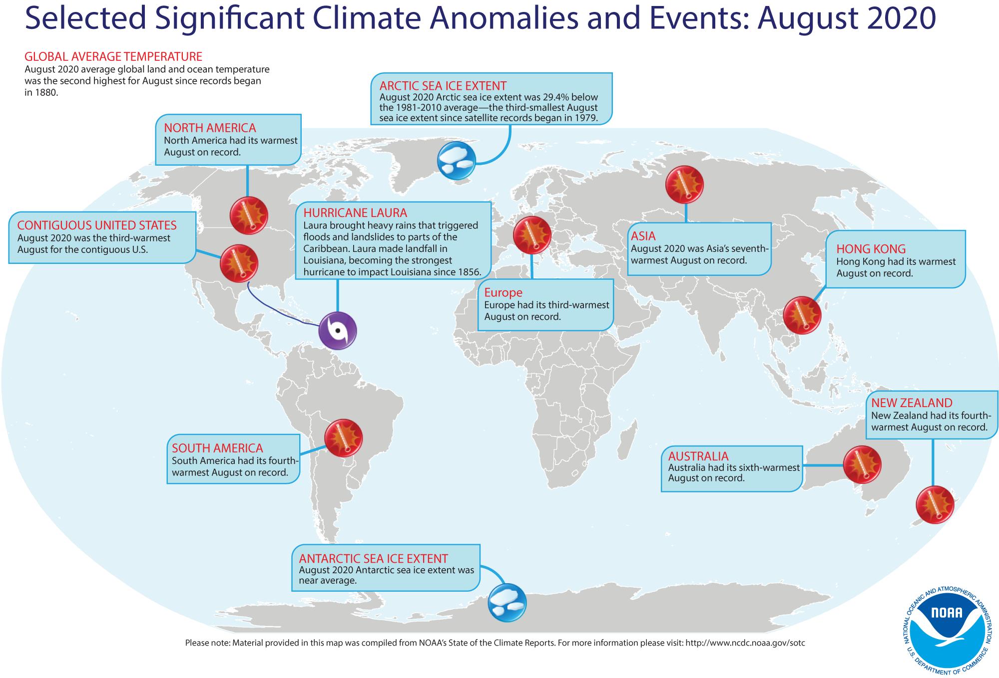 Besondere Klimaereignisse im August 2020 (Quelle: NOAA)