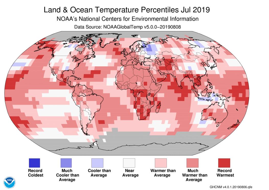 mapa de percentiles de temperatura en julio 2019 en océano y tierra