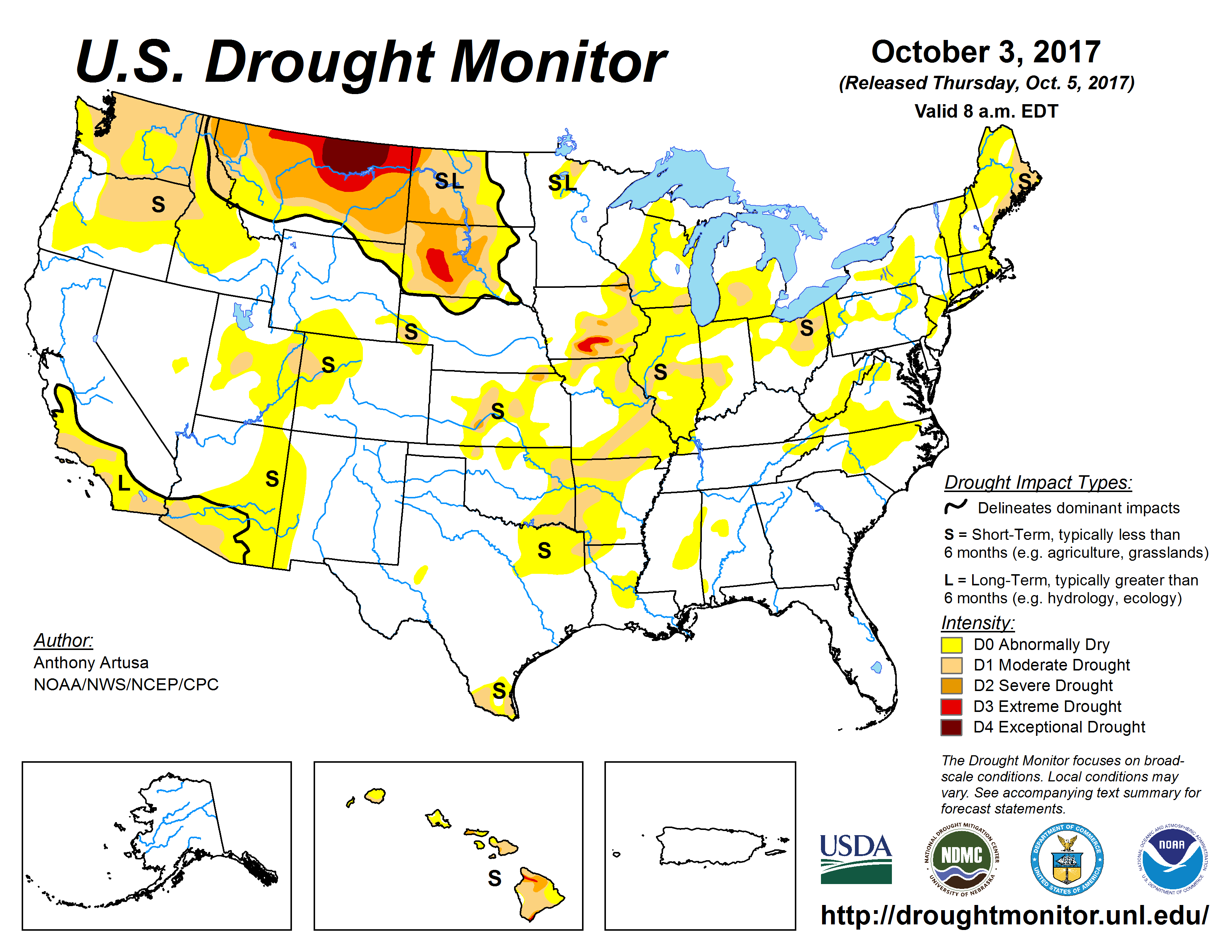 US Drought Monitor Update for October 3 2017 National Centers