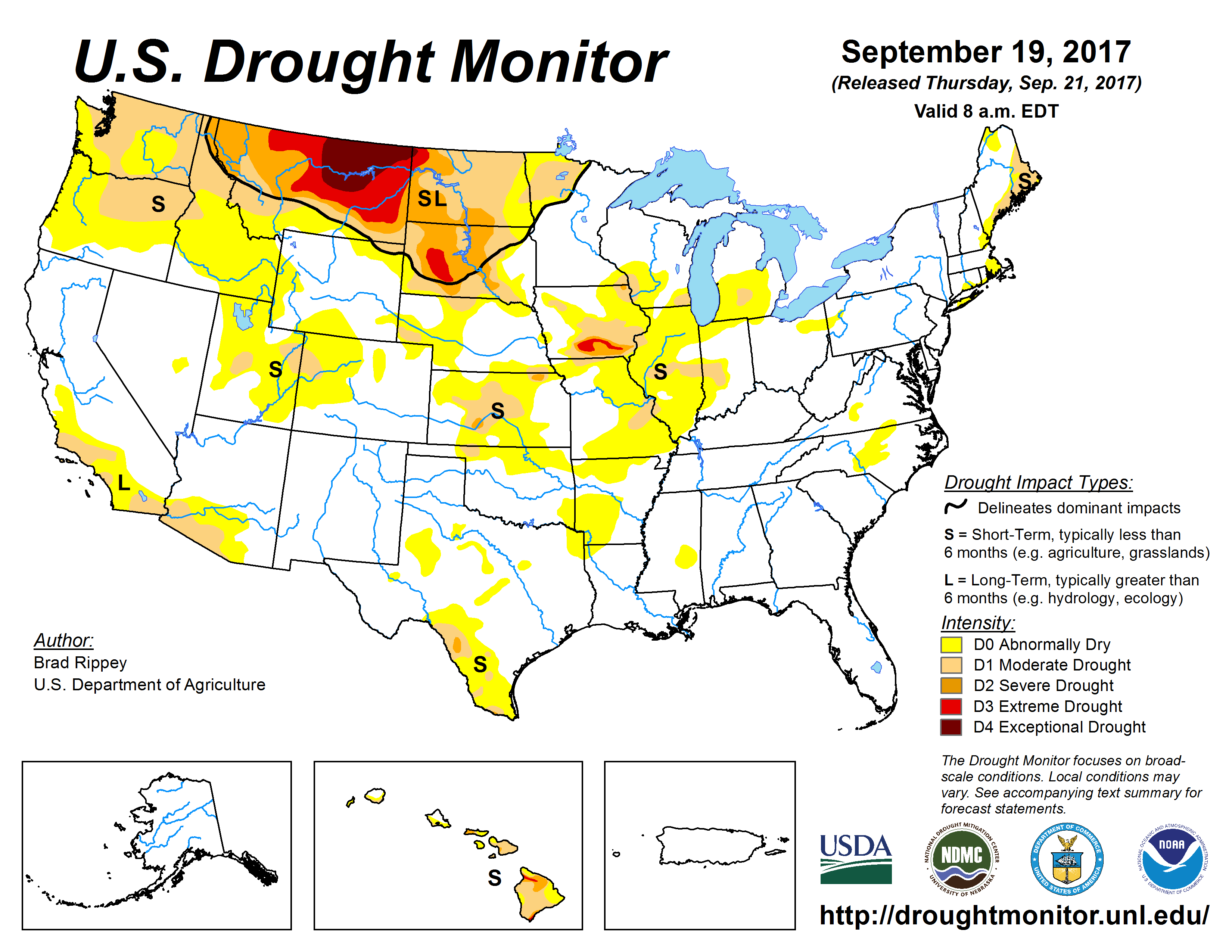 map of u s drought conditions for september 19 2017