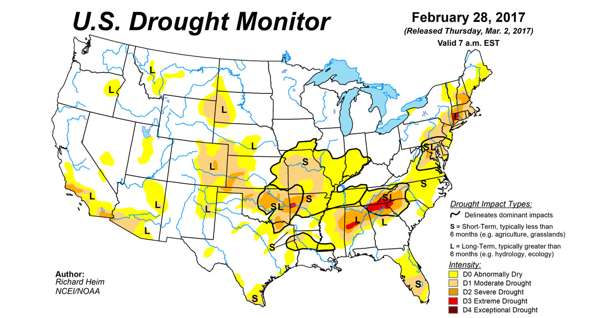 U S Drought Monitor Update For February 28 2017 National Centers For Environmental Information Ncei