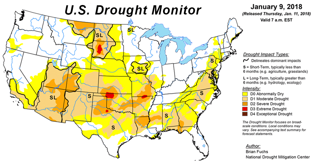 u s drought monitor update for january 9 2018 national centers for environmental information ncei