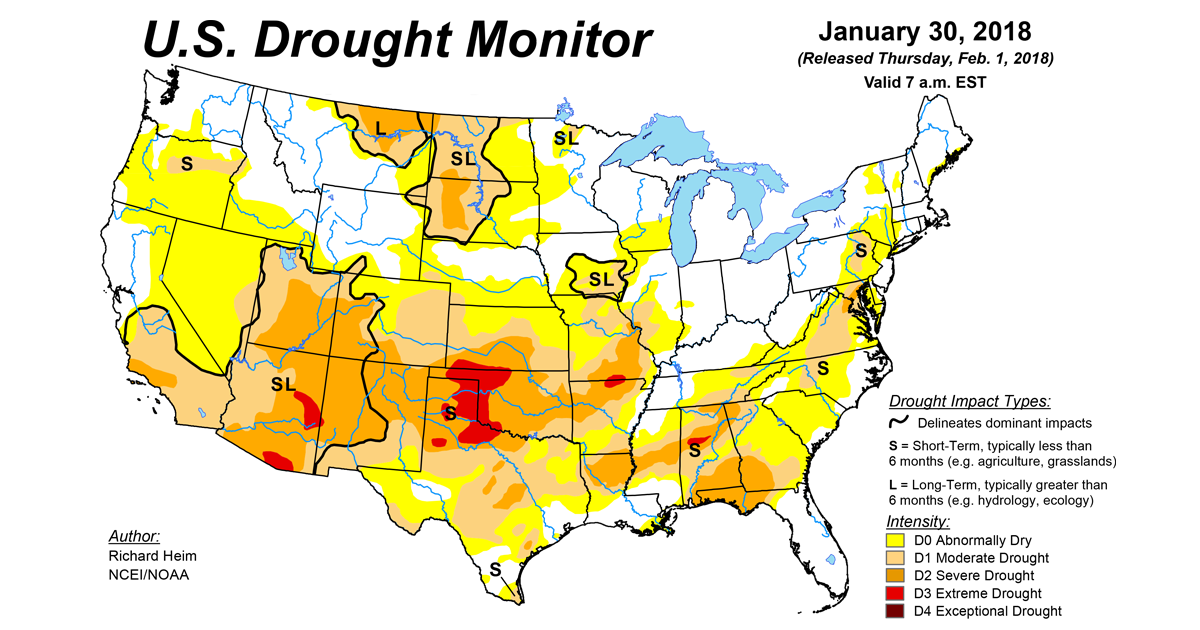 US Drought Monitor Update for January 30 2018 National