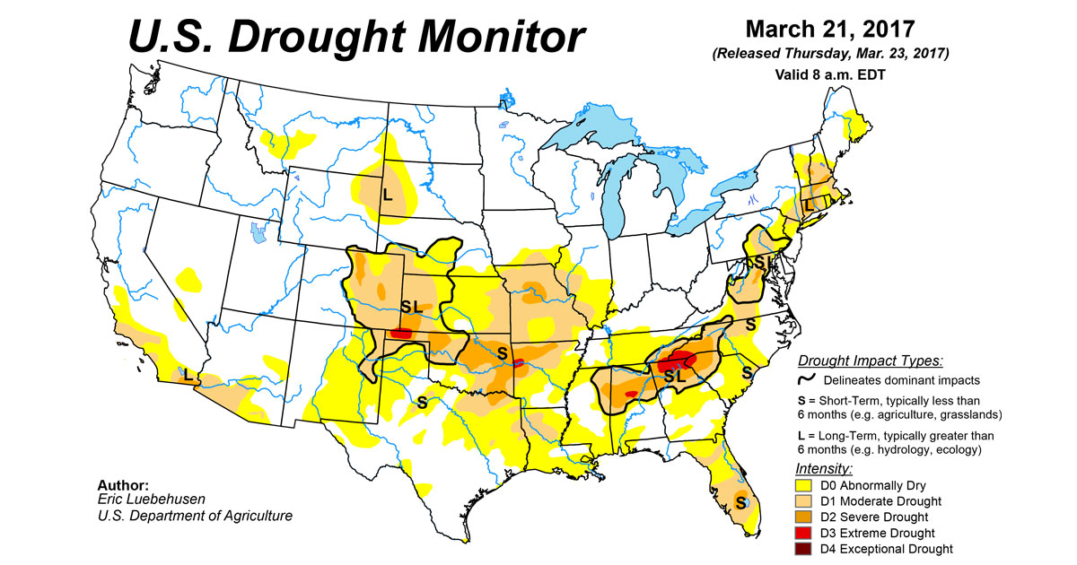 US Drought Monitor Update For March National Centers - Us map drought