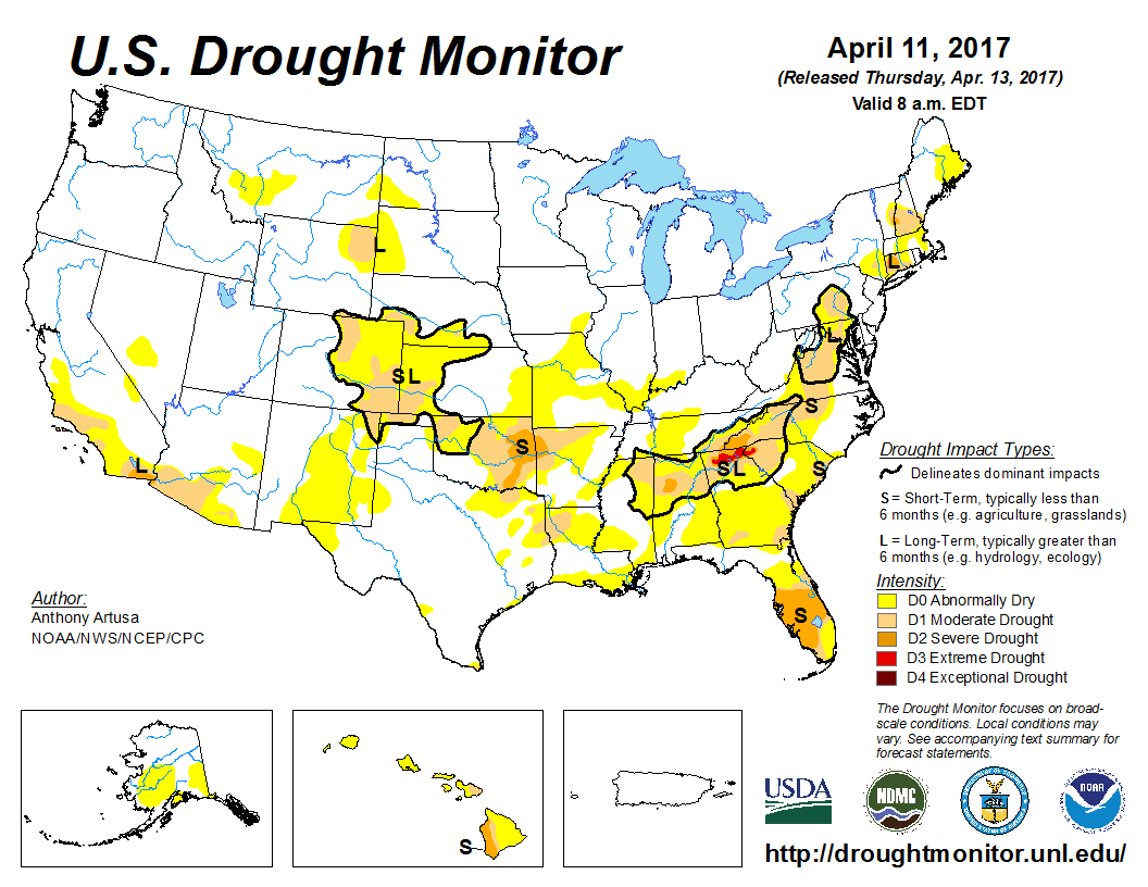 Map of U.S. drought conditions for April 11, 2017
