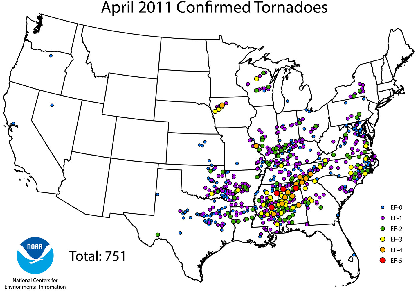 Map of 751 confirmed tornadoes in April 2011