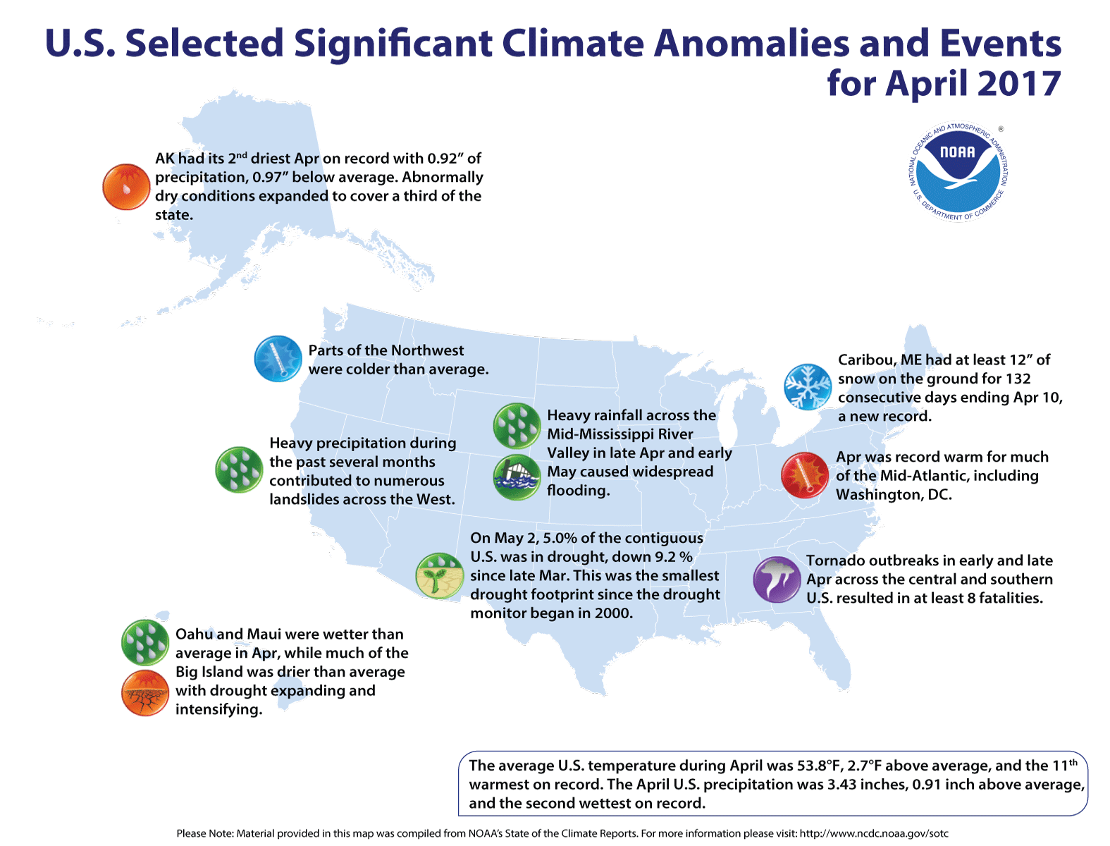 Map of U.S. selected significant climate anomalies and events for April 2017