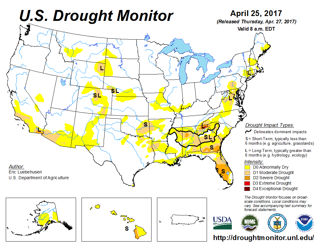 Map of U.S. drought conditions for April 25, 2017