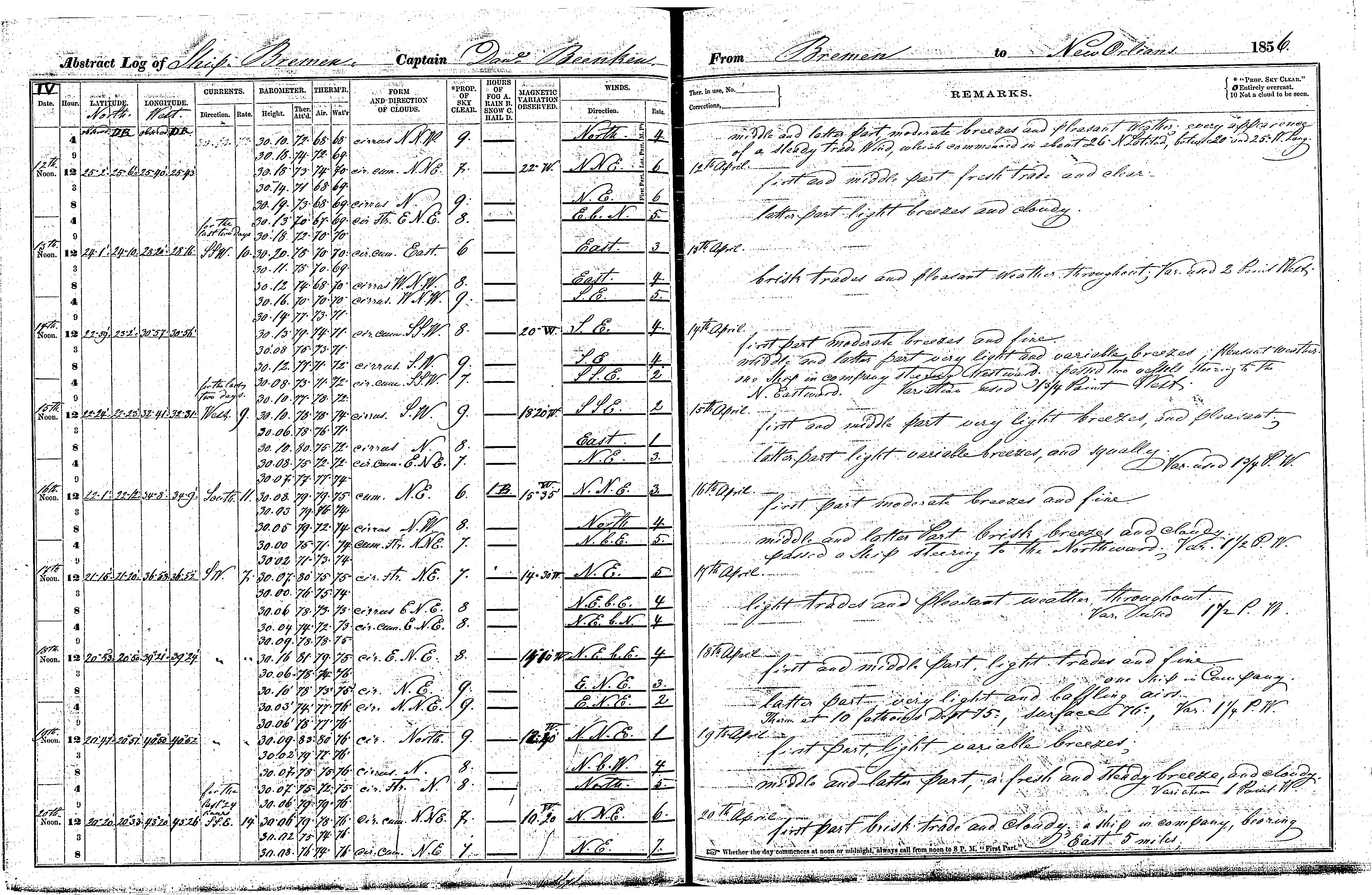 Photo of the Bremen's April 1856 ship log