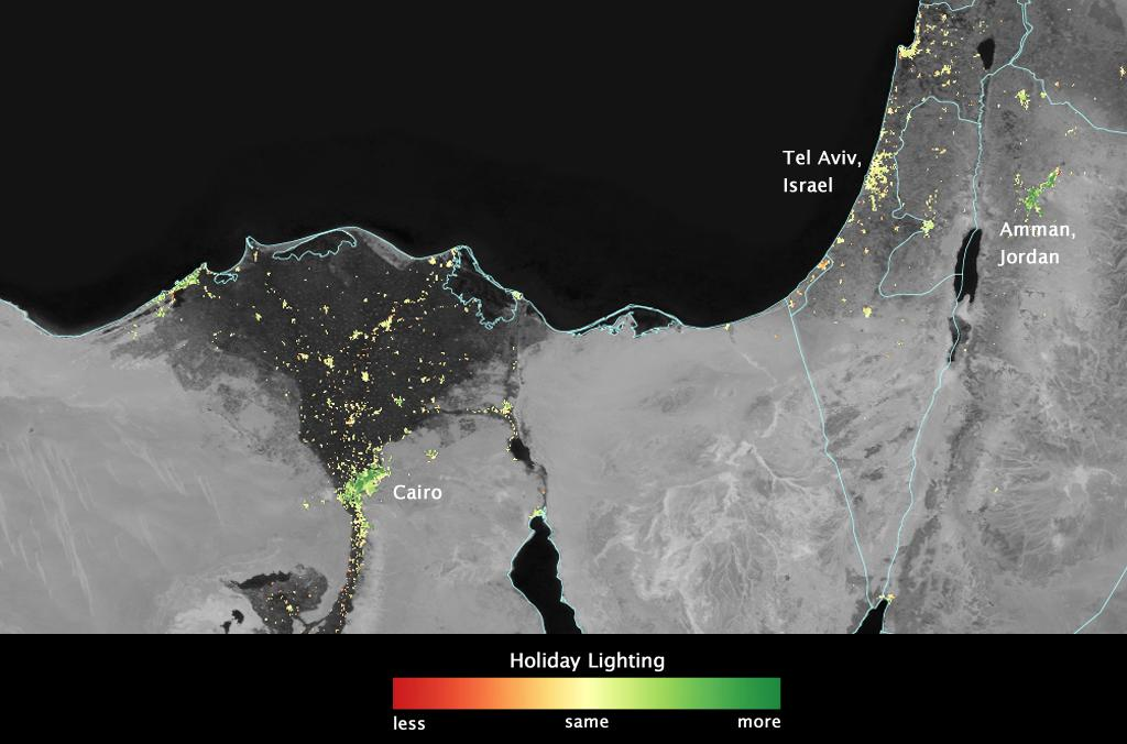 Map of Cairo, Egpyt, showing an increase in brightness due to holiday lights