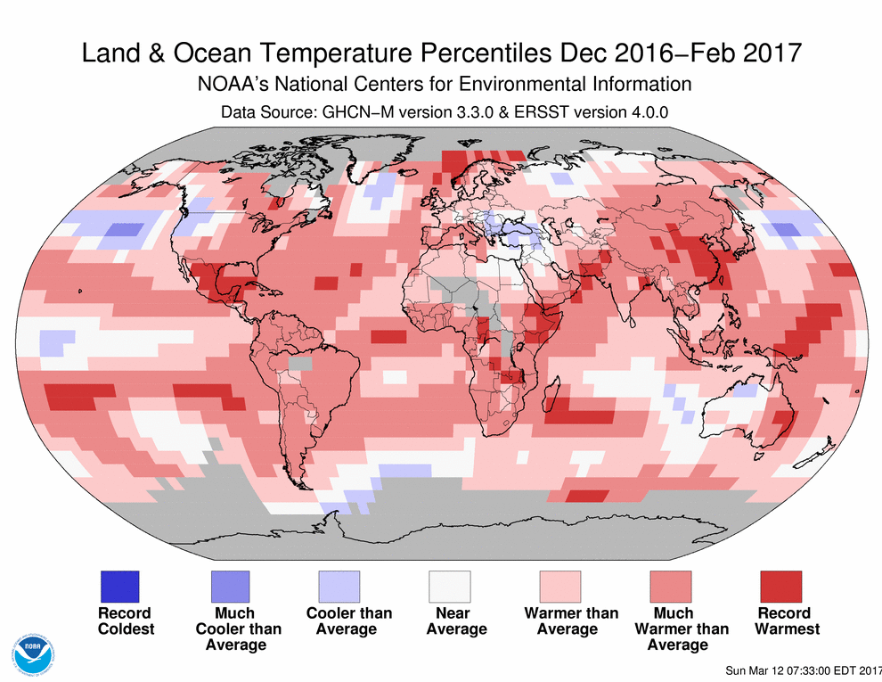 Map of global temperature percentiles for December 2016 to February 2017