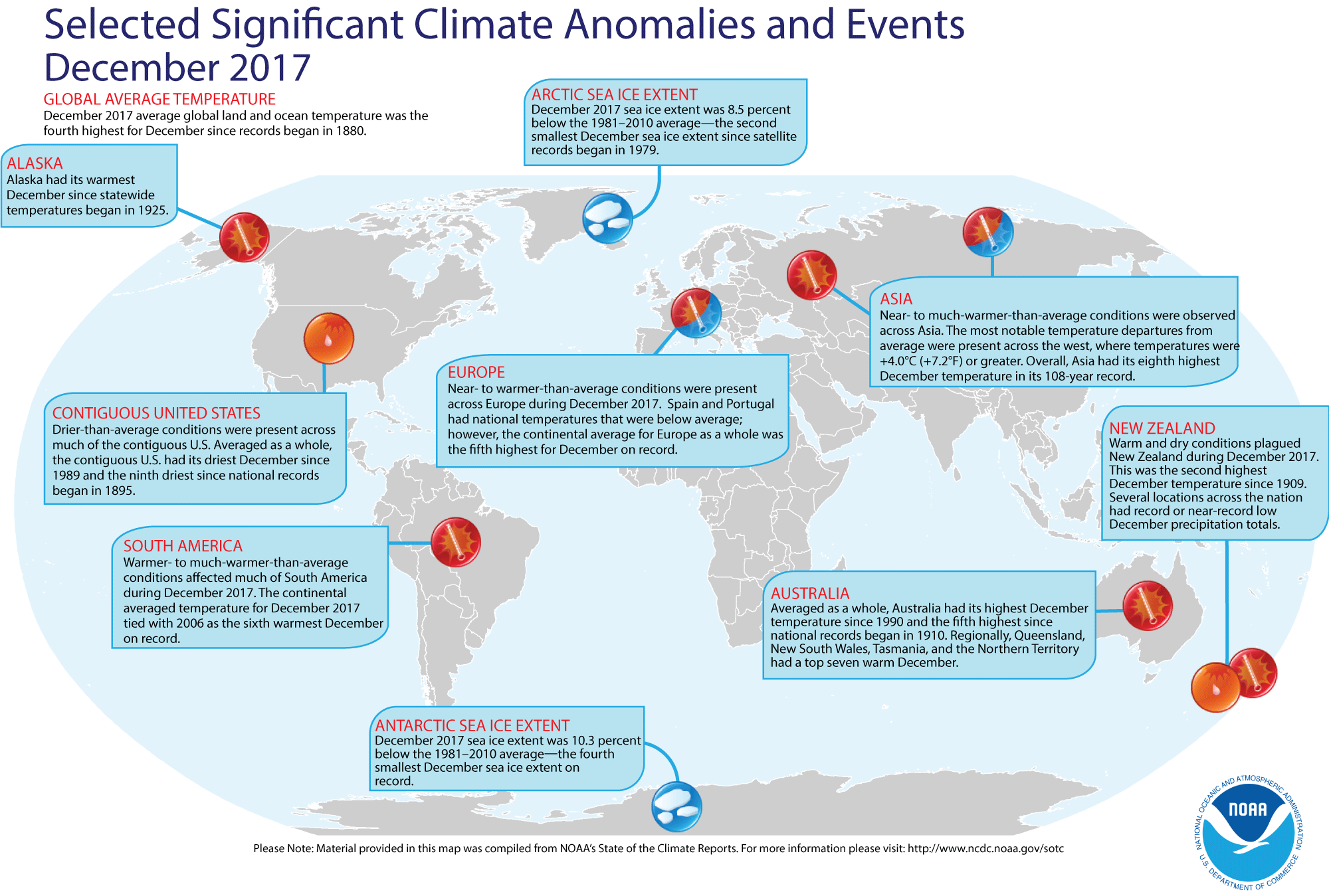 Map of global selected significant climate anomalies and events for December 2017