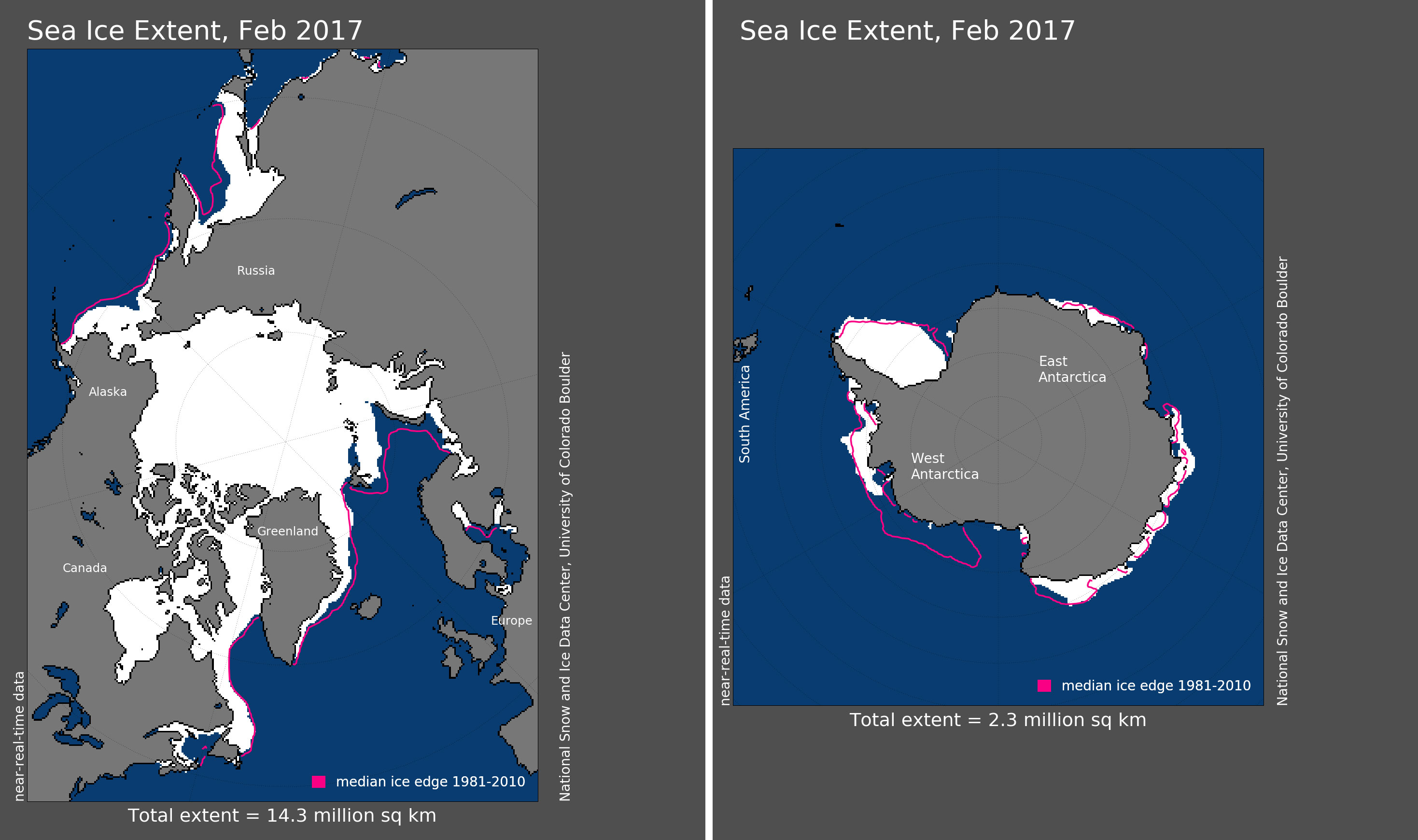 Maps of Arctic and Antarctic sea ice extent in February 2017