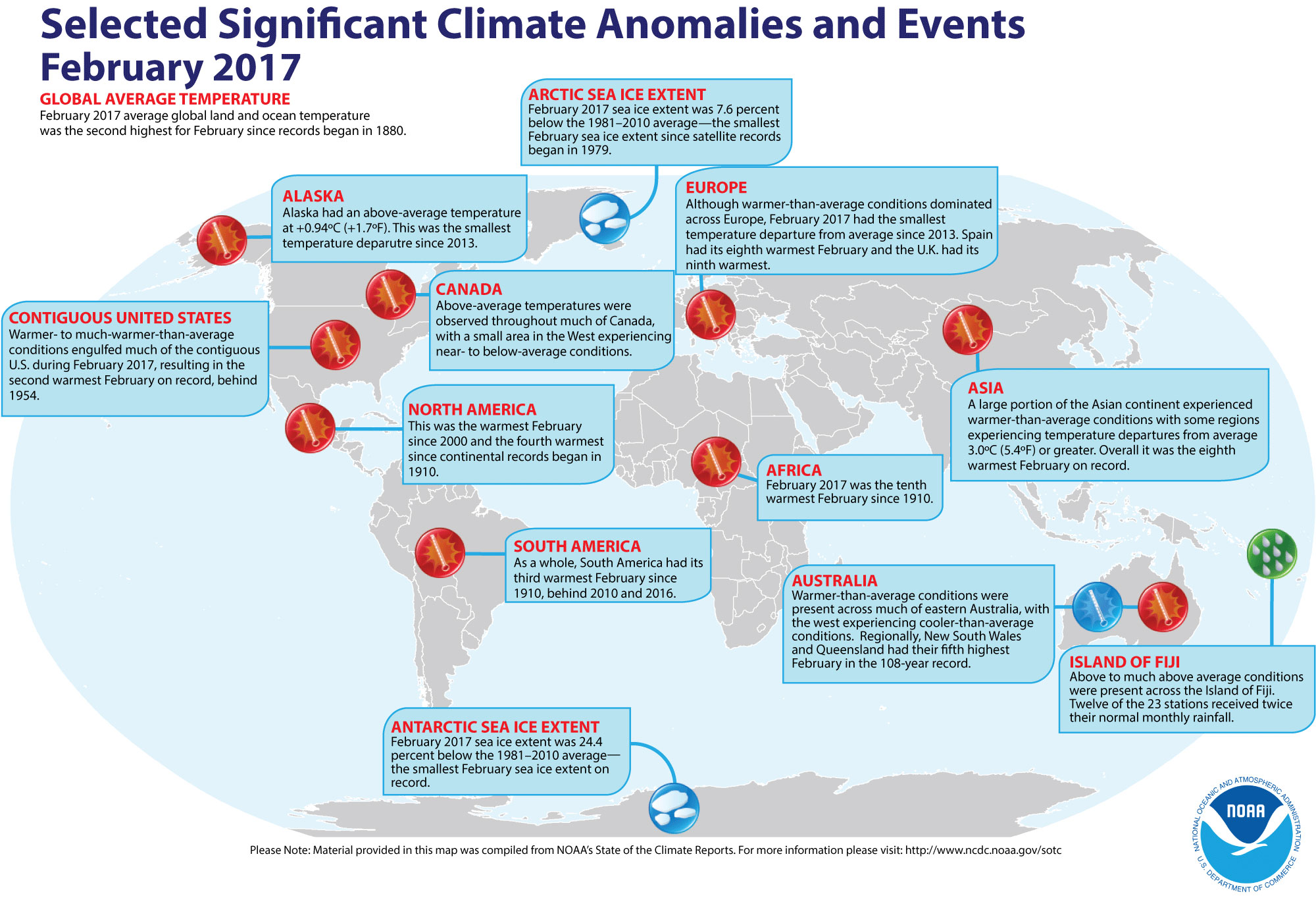 Map of global selected significant climate anomalies and events for February 2017