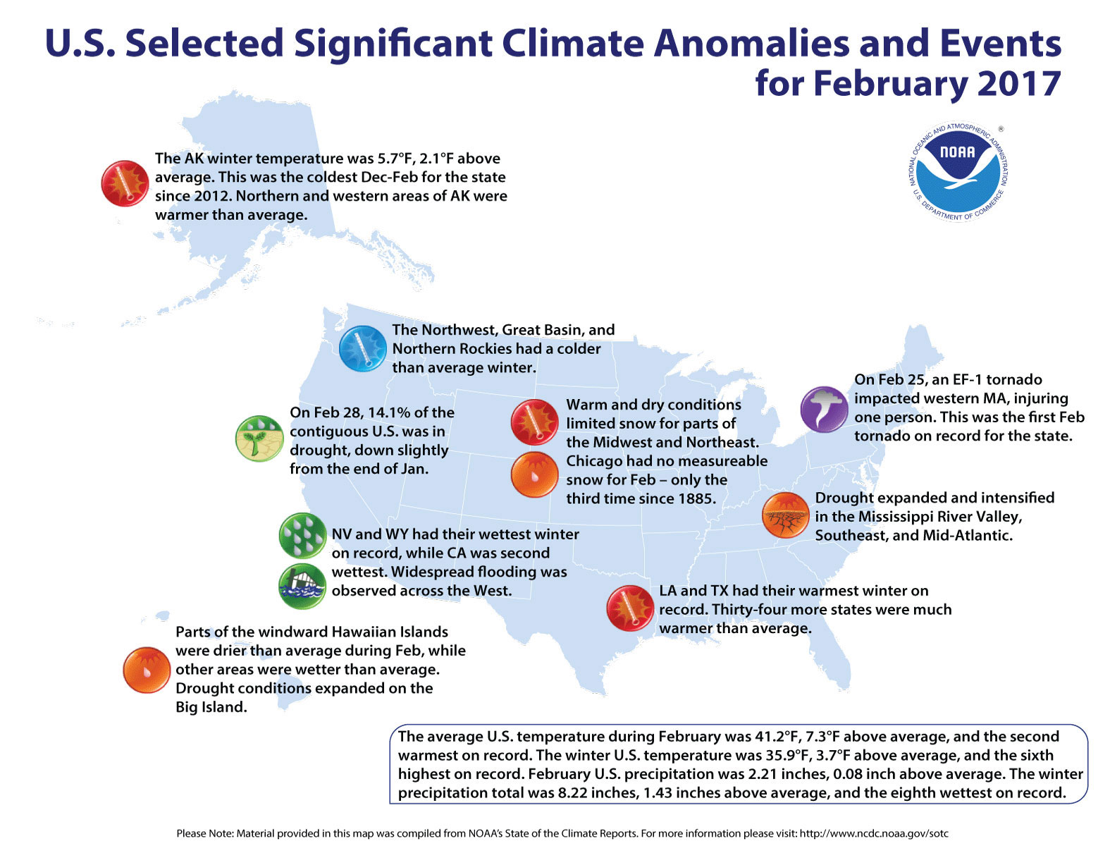 Map of U.S. selected significant climate anomalies and events for February 2017