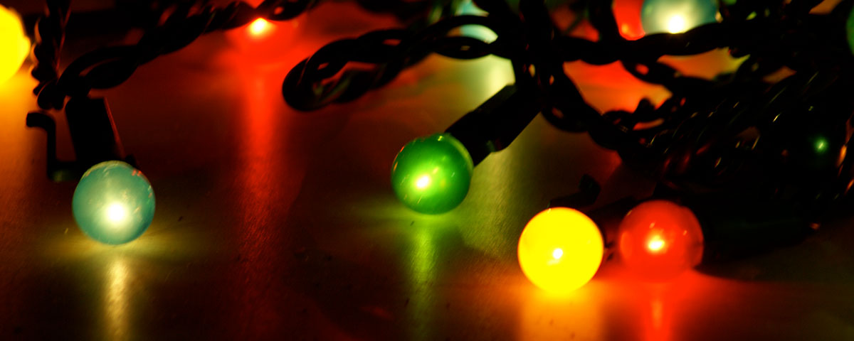 Photo of a closeup view of holiday lights