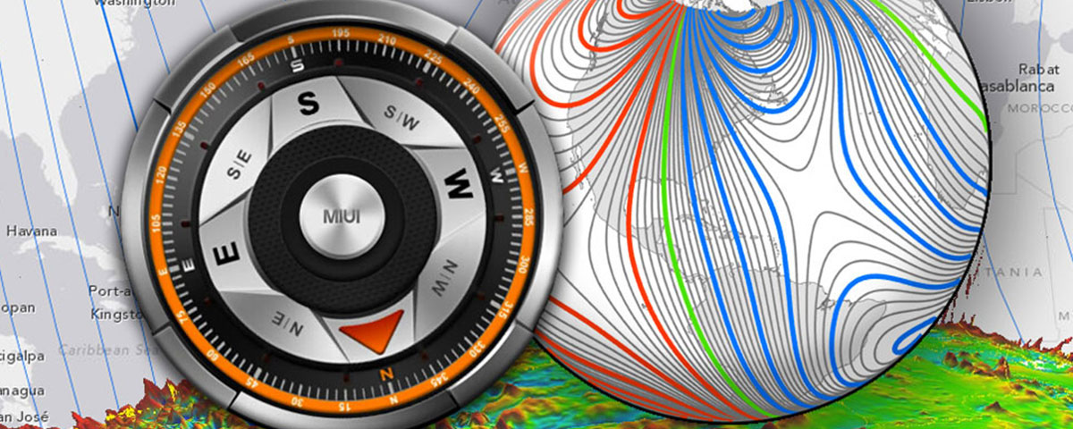 Depiction of a compass and Earth's magnetic field