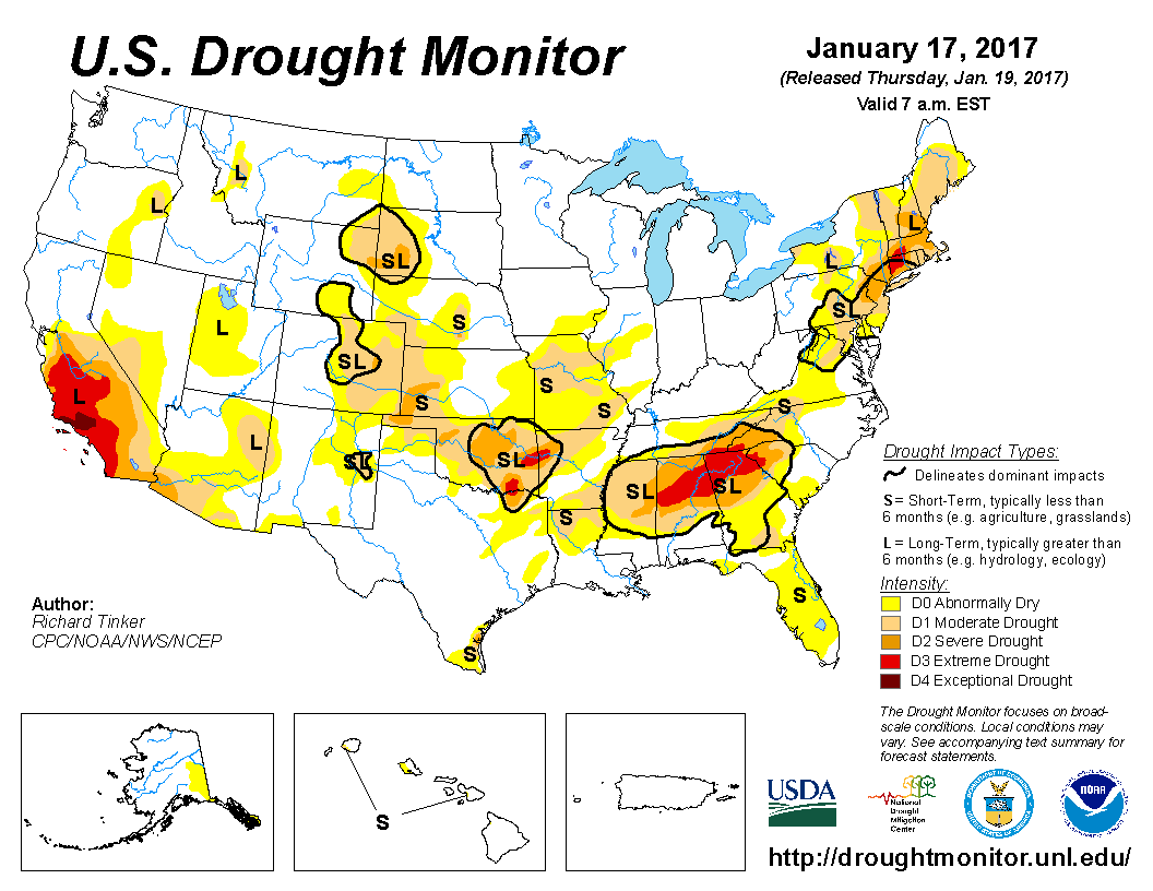 Map of U.S. drought conditions for January 17, 2017