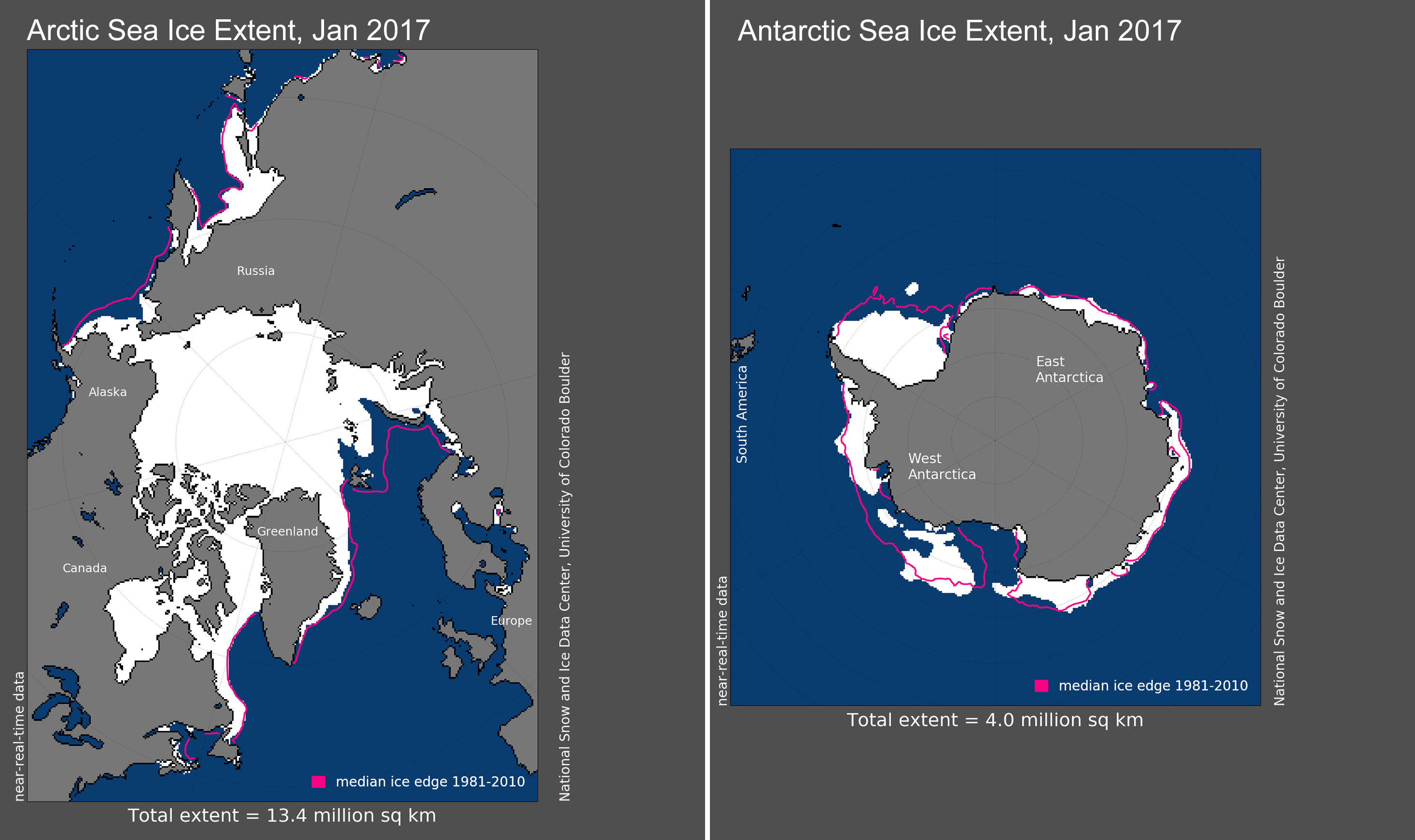 Maps of Arctic and Antarctic sea ice extent in January 2017