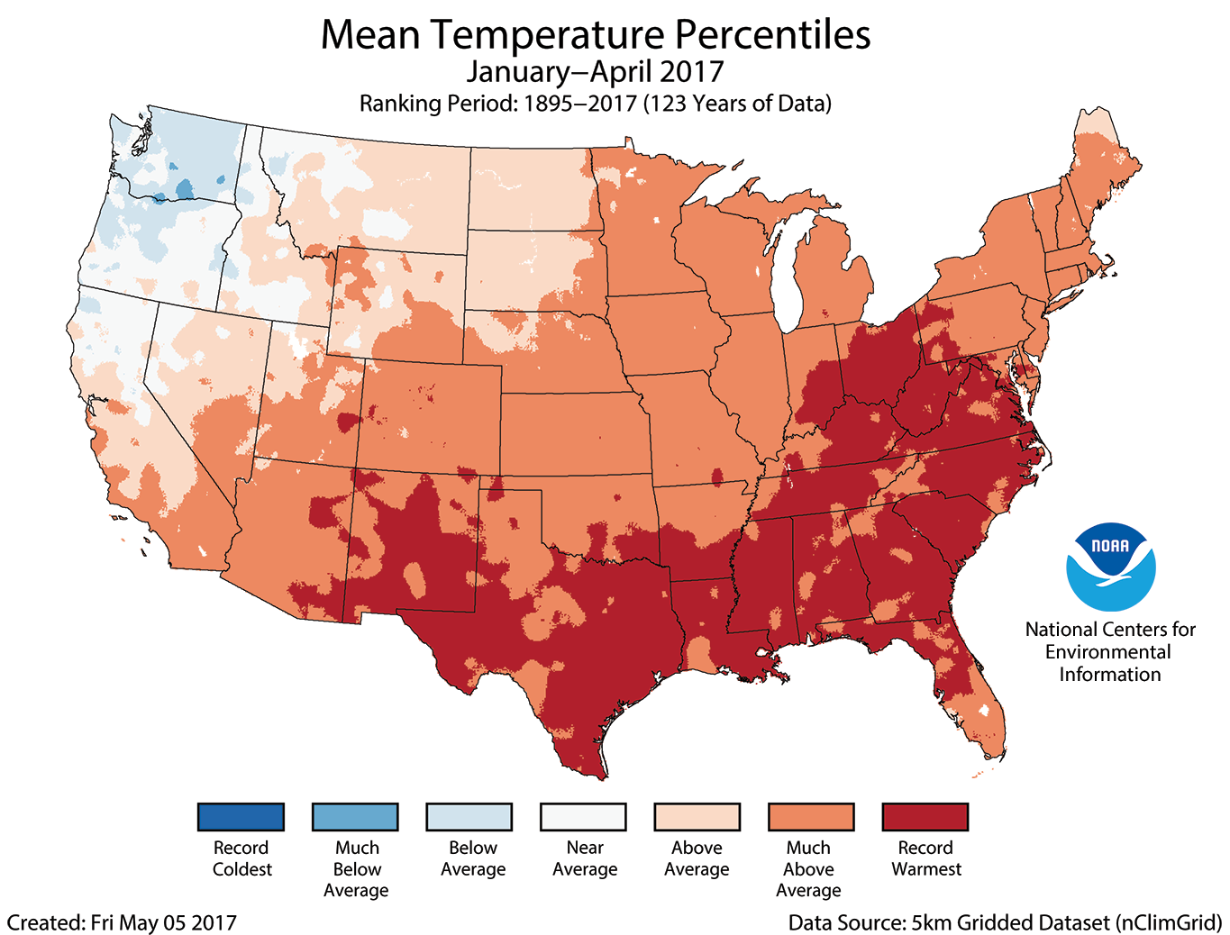 Map of Janurary to April 2017 U.S. average temperature percentiles