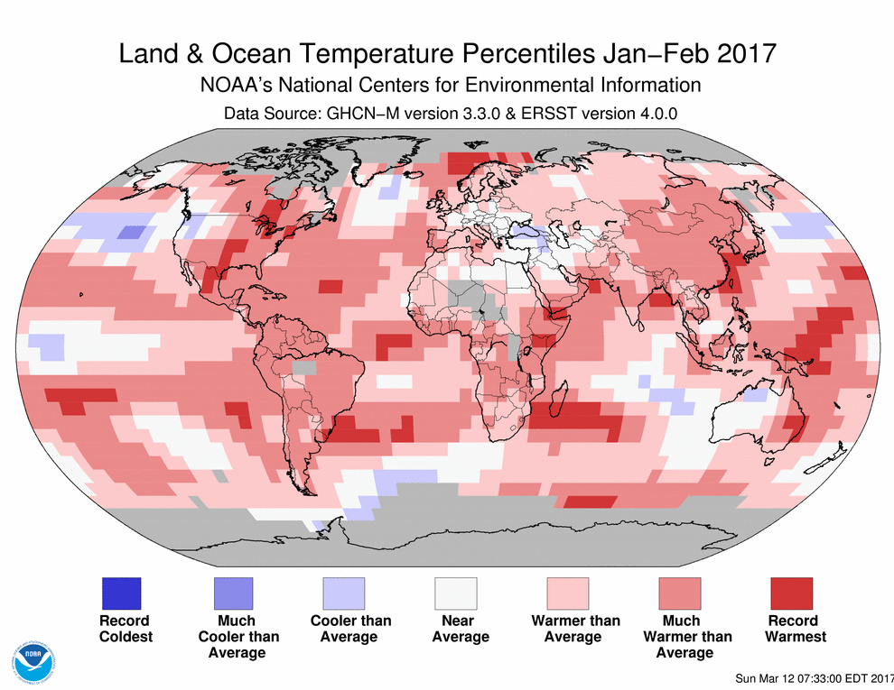 Map of global temperature percentiles for January to February 2017