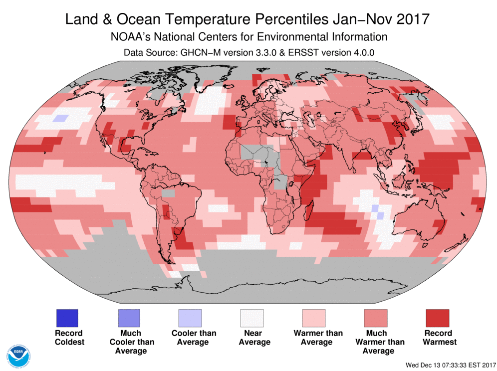 Map of global temperature percentiles for September to November 2017