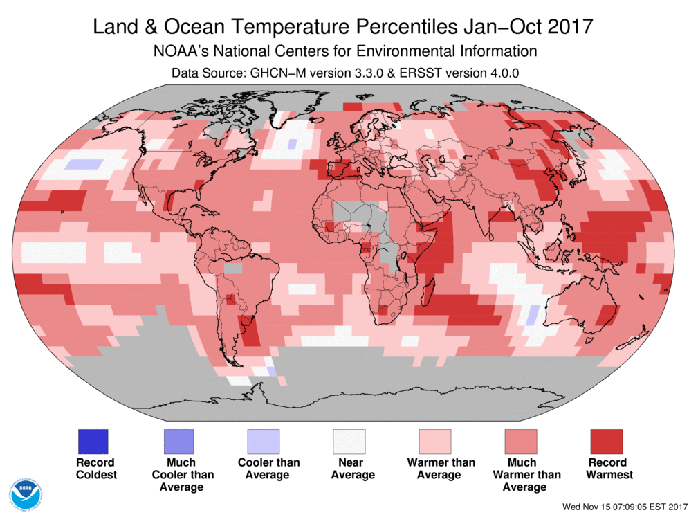 Map of global temperature percentiles for January to October 2017