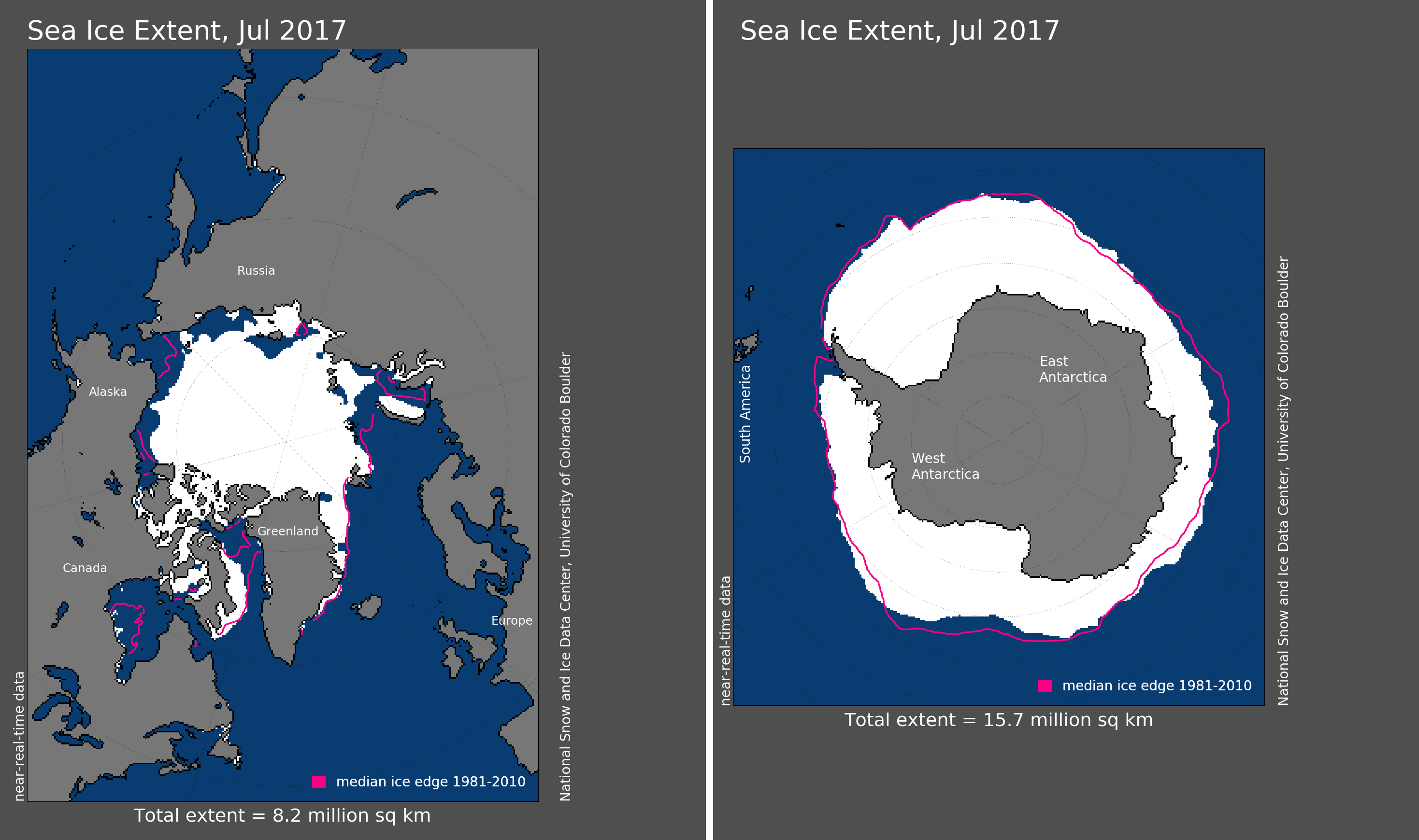 Maps of Arctic and Antarctic sea ice extent in July 2017