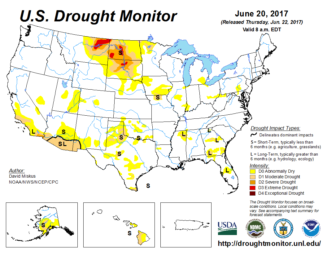 Map of U.S. drought conditions for June 20, 2017