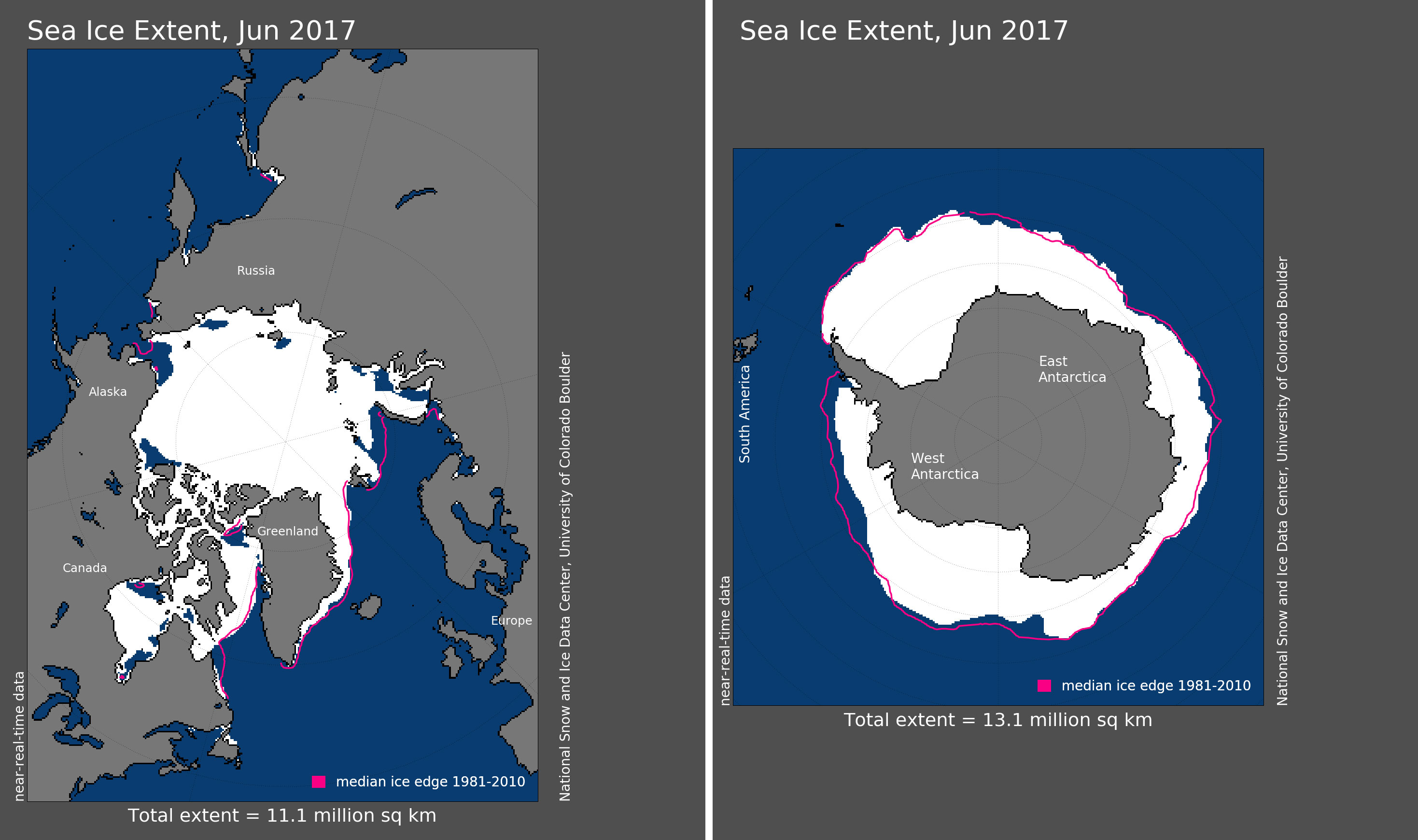 Maps of Arctic and Antarctic sea ice extent in June 2017