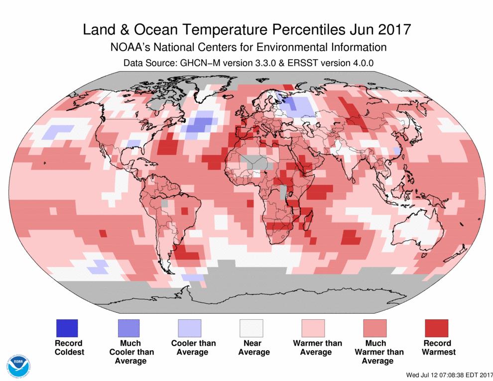 Map of global temperature percentiles for June 2017