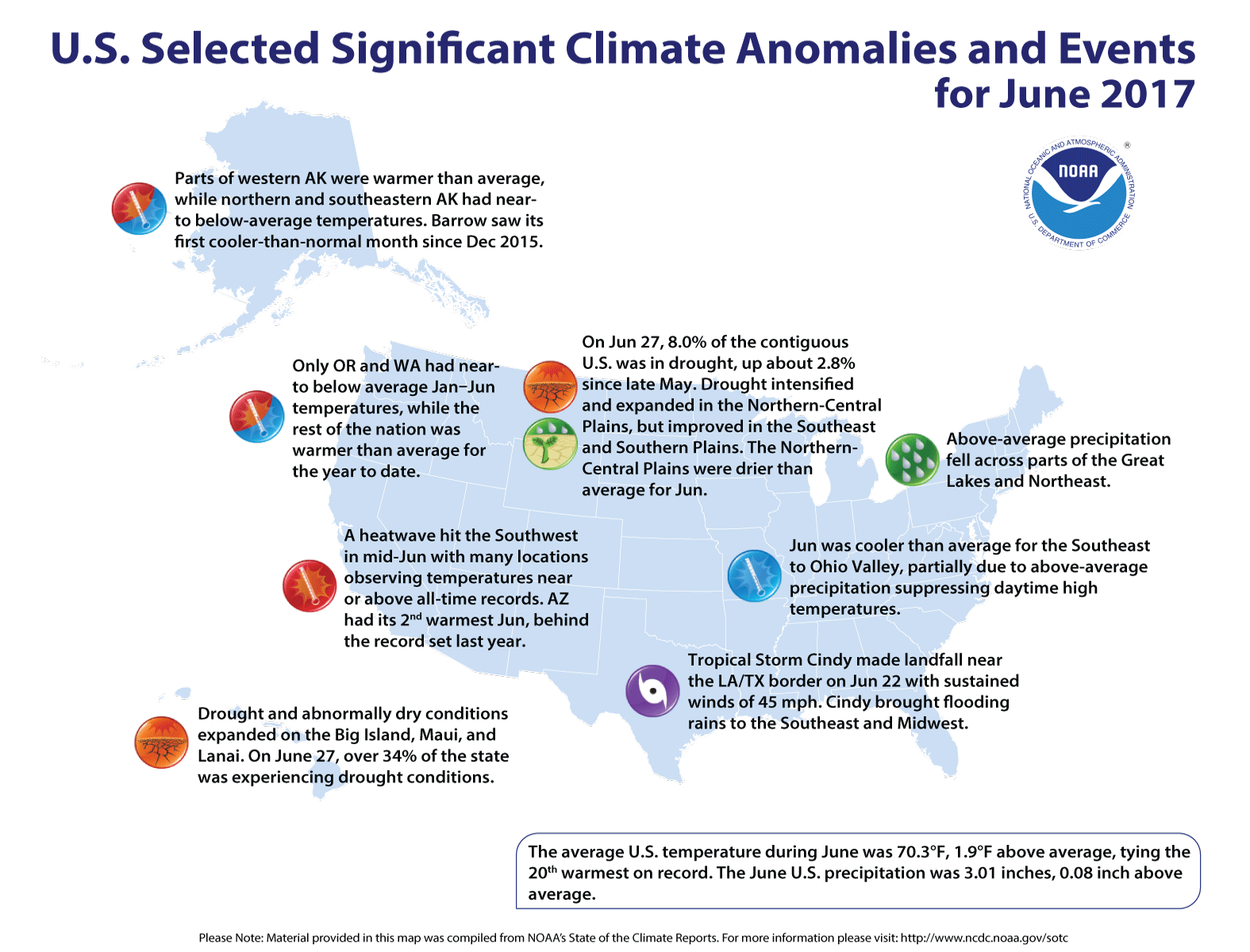 Map of U.S. selected significant climate anomalies and events for June 2017