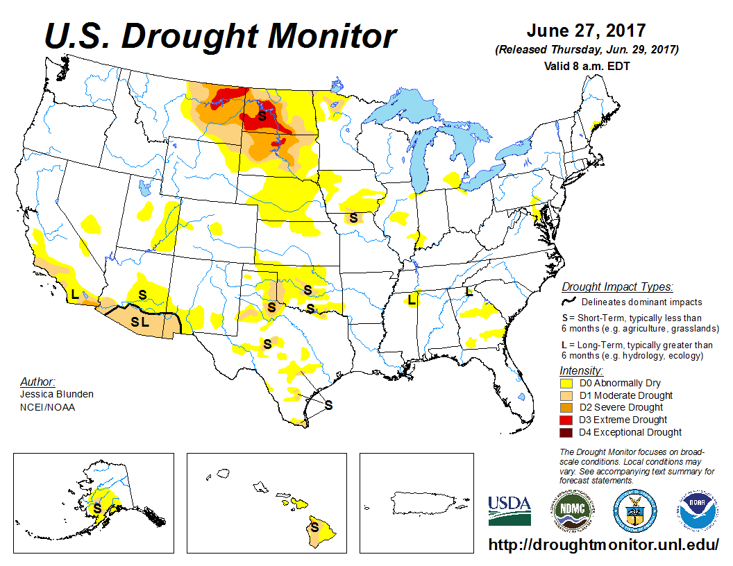 Map of U.S. drought conditions for June 27, 2017